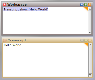 Squeak transcript showing the result of Transcript show: 'Hello World'