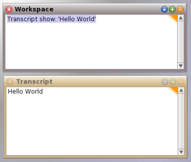 Squeak transcript showing the result of Transcript show: 'Hello World'