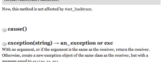 No documentation for the method Exception#cause