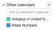 Using Week Numbers in Google Calendar - Other calendars